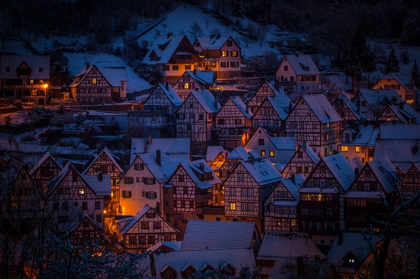 Picture of Houses at night.